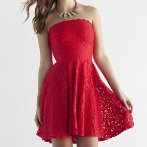 Jun & Ivy Strapless Red Lace Party Club Dress - M